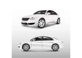白色轿车隔离在白色矢量上_3602030