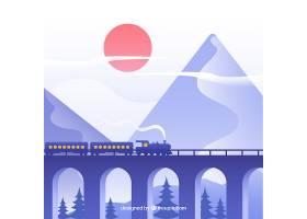 火车背景穿越美丽的风景_1051641