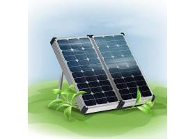 矢量便携式隔离太阳能电池板背景为绿叶_11062265