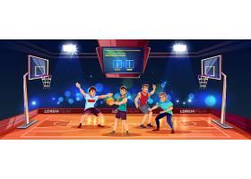 矢量卡通背景以运动人士在篮球场上玩团队_3824556