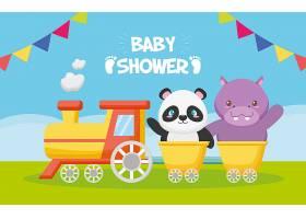 熊猫和河马在火车上领取婴儿送礼卡_5721819