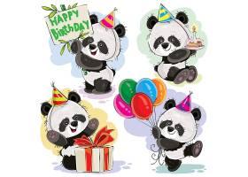 熊猫宝宝庆祝生日卡通矢量_1371725