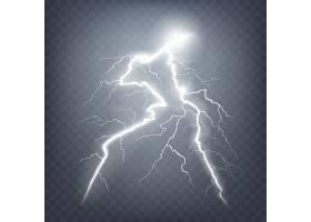 矢量插图的现实风格明亮发光的闪电隔离在黑_1265757
