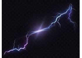 矢量插图的现实风格明亮发光的闪电隔离在黑_1320573