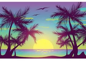 棕榈树的剪影和天空中的鸟儿_8304476