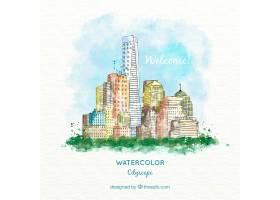 水彩效果中的美丽城市插画_890842