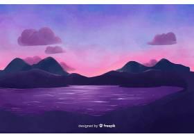 水彩画风格的自然山水背景_4950983
