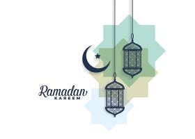 斋月卡里姆月亮和阿拉伯灯的背景_4350431