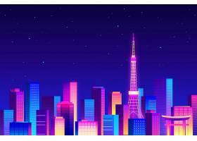 星夜在霓虹灯下的东京天际线_9979496