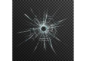抽象背景上透明玻璃上的弹孔带有灰色和黑_3796035