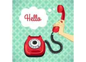 手持旧电话复古海报矢量插图_1158640