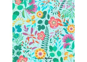 手绘五颜六色的花卉背景_4649057