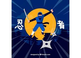平面设计的传统忍者武士背景_2686254