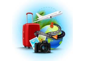 度假和度假背景配有逼真的地球箱和照相相_3815747