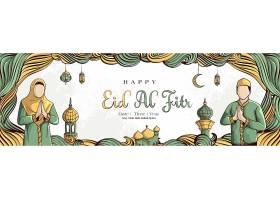 开斋节背景手绘穆斯林和白色垃圾背景上的_7475777