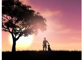 日落天空下一个男孩和他的狗的3D剪影_3140871