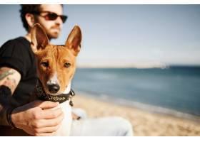 海滩上的男人和他的狗在欣赏大海_10320904