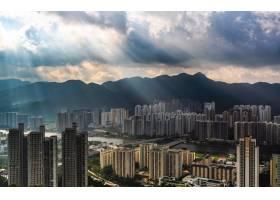 城市公寓楼区域的美丽空中有着令人惊叹的_8024257
