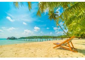 天堂岛上美丽的热带海滩和海边有椰子树_3661769