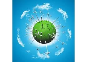 绿草如茵的地球上的风力涡轮机_4783129
