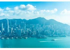 美丽的建筑建筑香港城市天际线的外部城市景_3707123
