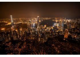 美丽的建筑建筑香港城市天际线的外部城市景_3707132
