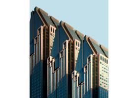 蓝天下的三栋蓝白相间的建筑_8943552