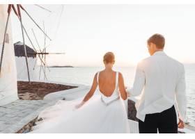 新娘和新郎走向大海上的夕阳_3984996