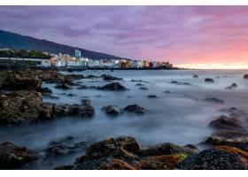 日落时分加那利群岛德拉克鲁斯港的美景_11112349