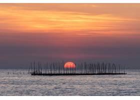 海上牡蛎养殖场和美丽的天空落日背景_4550586