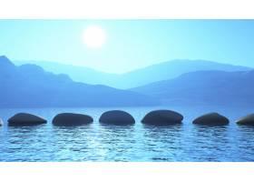 海洋中的3D垫脚石与山脉景观相映成趣_2795506