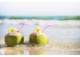 海浪沙滩上装饰着李花的新鲜椰子海沙阳光_5073594