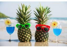 带太阳镜和鸡尾酒杯的新鲜菠萝夫妇在海浪清_5073602
