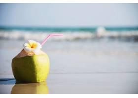 海浪沙滩上装饰着李花的新鲜椰子海沙阳光_5073596