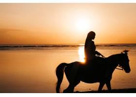 海边金灿灿的夕阳中年轻女子在海滩上骑马_8270055