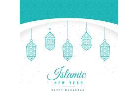 美丽的伊斯兰新年背景挂着灯笼_2841802