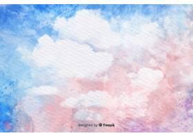 蓝天背景上的水彩云_5327864