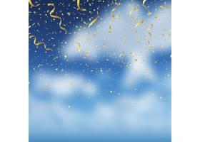 蓝天背景上的金色五彩纸屑_8156163