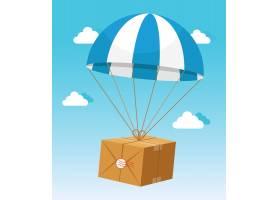 蓝天背景下的蓝白色降落伞托运纸箱_10600415