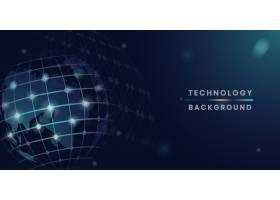 蓝色地球未来主义技术背景矢量_4034833