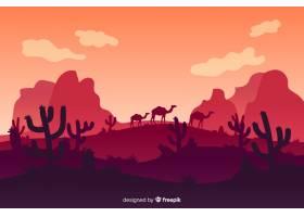 有山有骆驼的沙漠景观_5378046