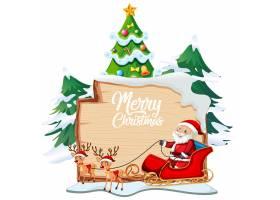 木板上的圣诞快乐字体标志白色背景上有圣_12364601