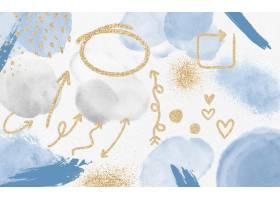 水彩画背景上的金色箭头和元素_9213795