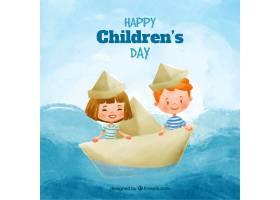 水彩画背景快乐的孩子们在纸船上航行_954097