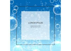 带有透明肥皂或水泡的逼真清水背景和文本框_12909906