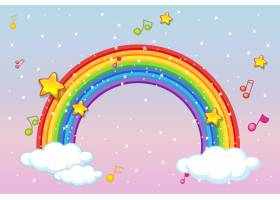 带有音乐主题的彩虹在柔和的天空背景上闪_9306667