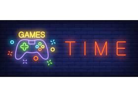 带游戏手柄的游戏时间霓虹灯文字_3237337