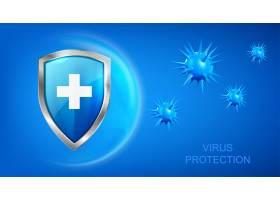 带盾牌的病毒保护背景和蓝色背景上飞行的带_12620493