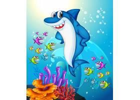 快乐的鲨鱼卡通人物在水下的场景中有很多异_12365470