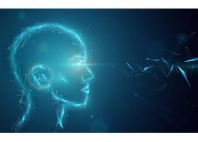 人工智能概念背景摘要眼睛发光的人造人头_10817242